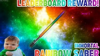 ROBLOX // Murder Mystery X // OMG WE GOT THE RAINBOW SABER FROM THE LEADERBOARD!!!
