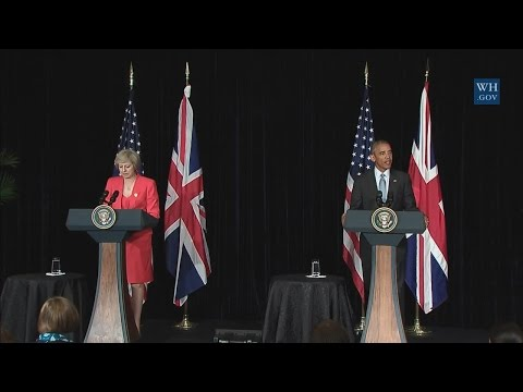 President Obama Delivers a Statement with Prime Minister Theresa May of the United Kingdom