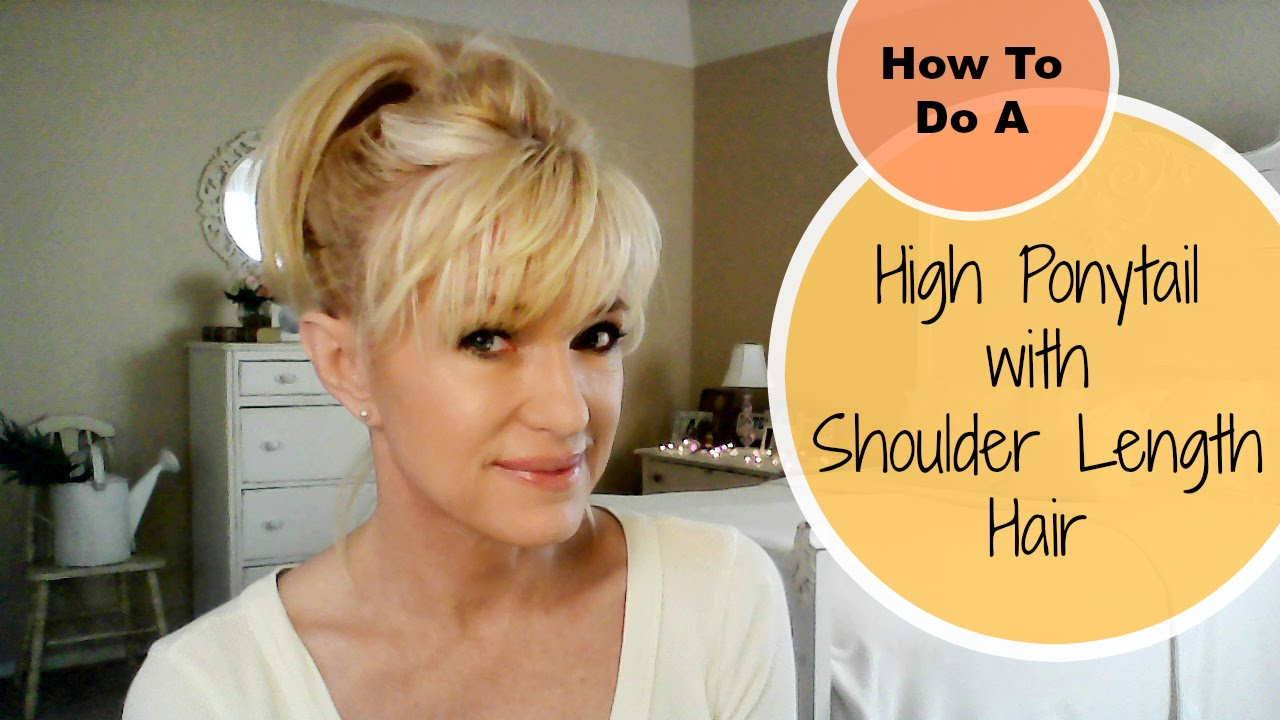 how to style shoulder length hair with bangs how to do a high ponytail with shoulder length hair 2515 | maxresdefault