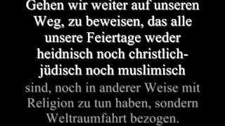 Sensationsfund.Schrifttafel mit Text über Raumfahrer.