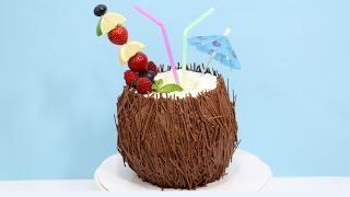 Coconut Cocktail 3D Cake  - How To Decorate with Chocolate by CakesStepbyStep