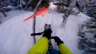 Skiing through forest with no mercy!