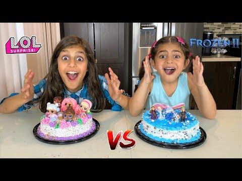 Birthday Cake Surprise Party LOL Vs FROZEN 2 Toys