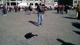 crazy man dance in  amsterdam