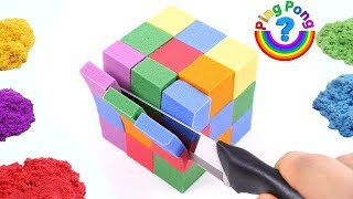 How to Make Kinetic Sand Rubik for Children !w Colors with Mad Mattr Nursery Rhymes Songs for Kids