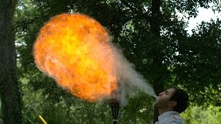 Fire Breathing in Slow Motion - The Slow Mo Guys