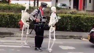 Funny clown skeleton dance