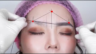 EYEBROW MAPPING TUTORIAL with thread - how to make eyebrows even for Microblading and Shading