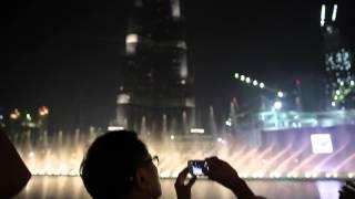 Howie Severino of I-Witness in Dubai Fountain and Burj Khalifa.