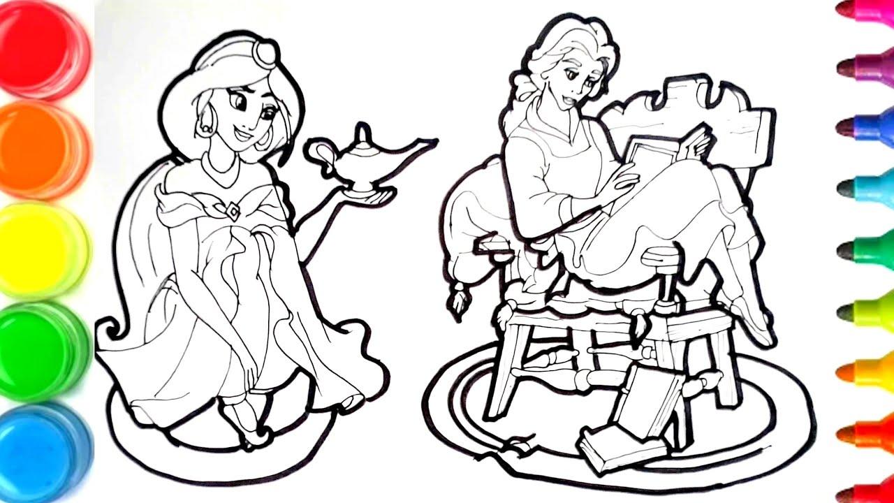 dessin et coloriage princesses Disney Yasmine et belle/ how To draw and  color for kids #TT17