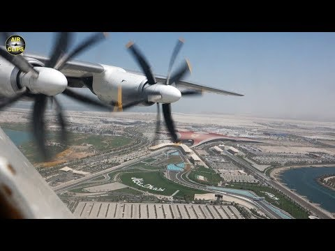 Stunning Antonov 22 Abu Dhabi Landing, Great Ferrari World & Yas Island Views!!! [AirClips]