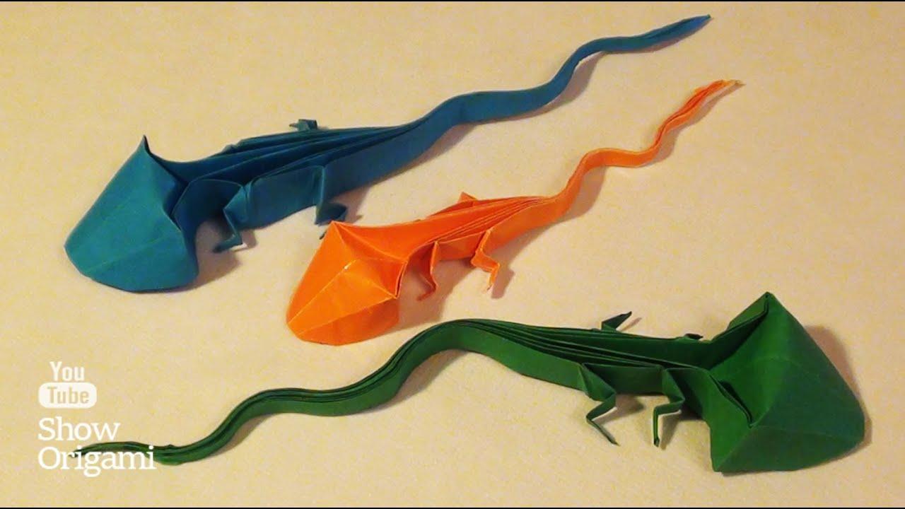 Оригами: Ящерица из бумаги - видеоинструкция