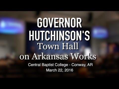 Governor Hutchinson's Town Hall on Arkansas Works