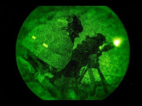 US Marines conduct night shooting exercises during deployment to Jordan