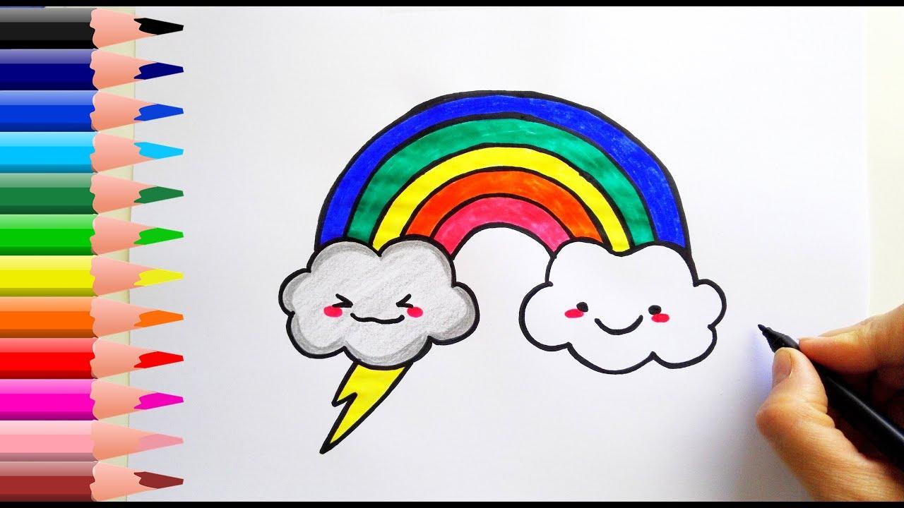 Gokkusagi Ve Bulut Nasil Cizilir How To Draw A Rainbow And