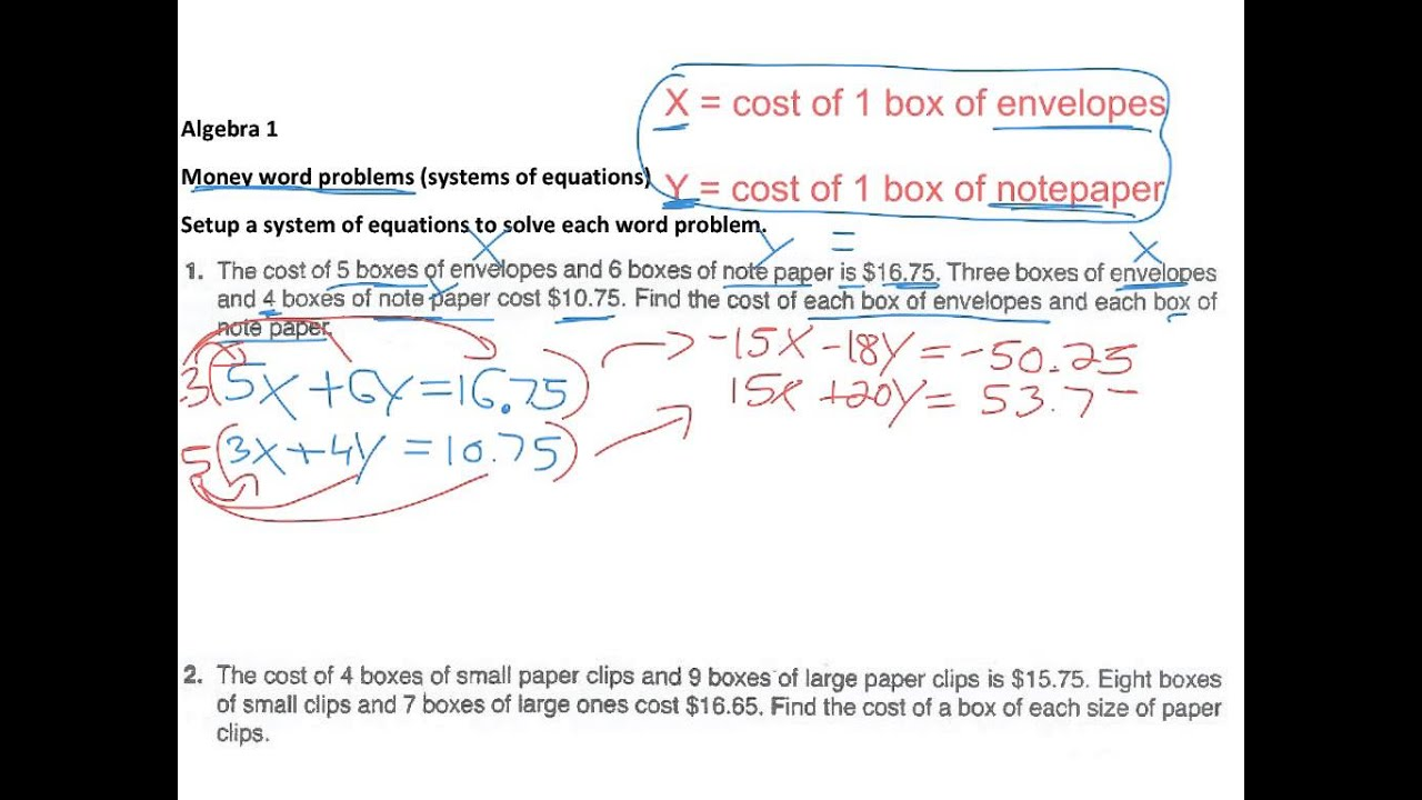 Money problems with Systems of Equations Tutorial | Sophia