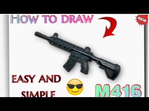 How to draw pubg weapons . easy drawing of M416 and groza . Meet Gandhi art.  2021 new . part 1