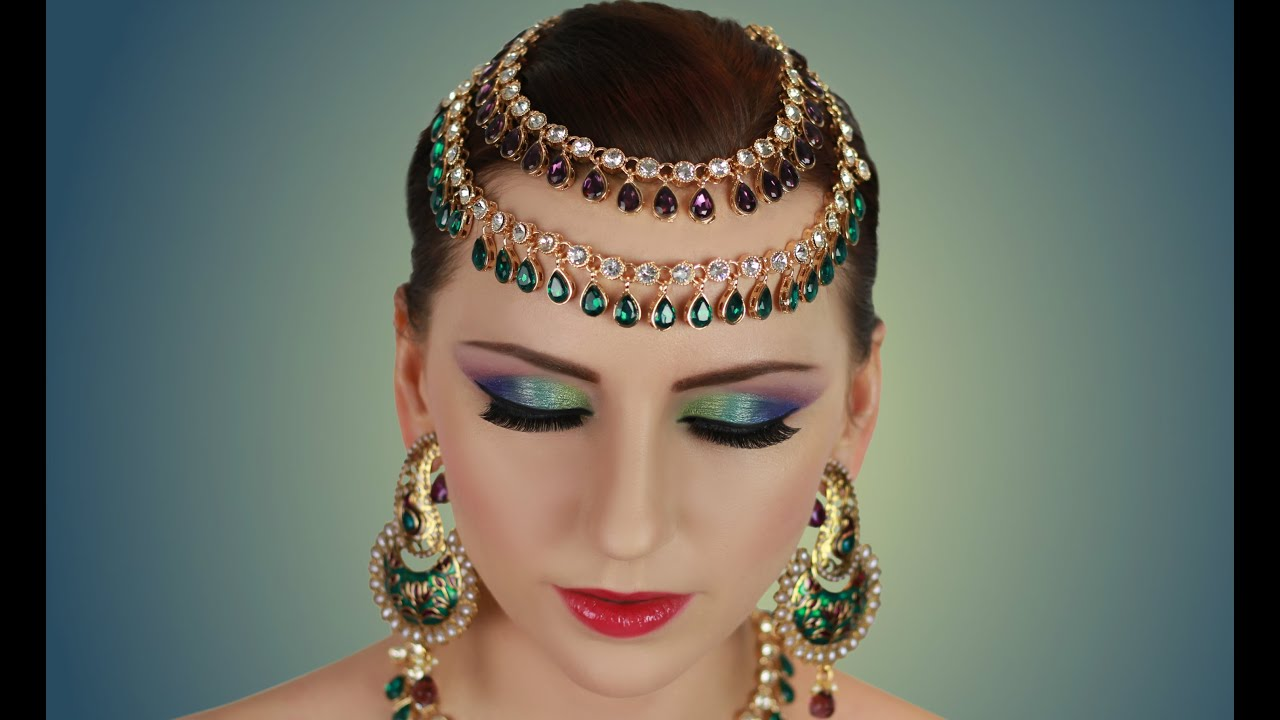 Green Blue Purple Makeup Tutorial Asian Bridal Indian Arabic Stani Contemporary Look You