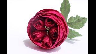 как сделать английскую розу из гофрированной бумаги