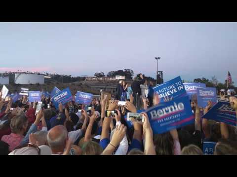 """Bernie Dances To """"This Land Is Your Land"""" In San Diego"""