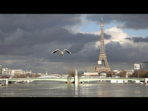 Drone footage shows Paris flooding