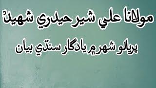 Moulana Ali Sher Haidri Shaheed Sindhi Bayan مولانا علي شير حيدري شهيد سنڌي بيان