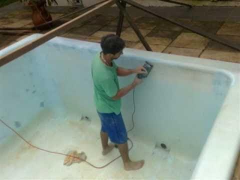 Reformando uma piscina de fibra luz interna dentro da gua for Piscinas de fibra usadas