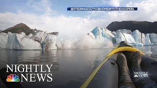 Dramatic Video Shows Alaska Glacier Collapse Near Kayaker | NBC Nightly News