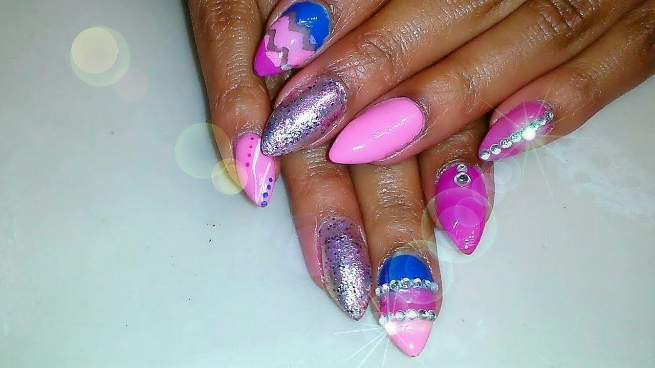 - ACRYLIC NAILS TUTORIAL Pink & Blue Nail Design W/ Gems! - YouTube