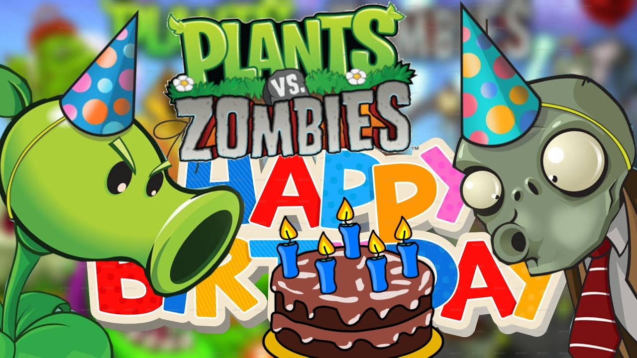 Plants Zombies Happy Birthday Pin