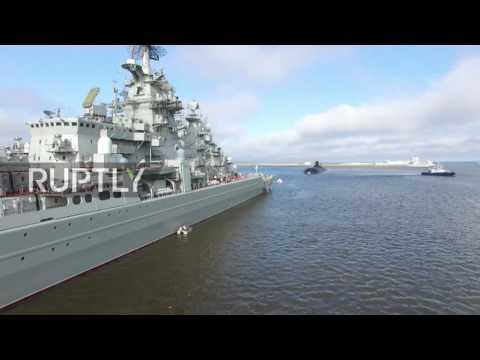 Russia: Northern Fleet's flagships arrive in Kronstadt ahead of Navy Day celebrations