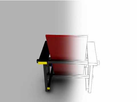 Rietveld Stuhl rot blau stuhl