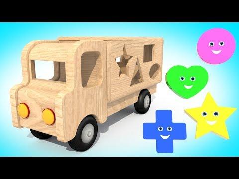 Видео: Мультик Про Машинки |  Деревянная Машинка и Фигурки  | Учим Цвета и Фигуры