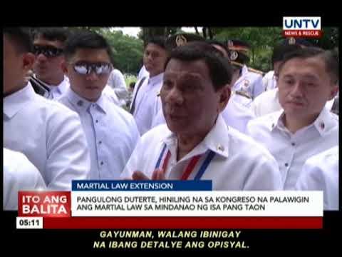 Pangulong Duterte, hiniling na sa Kongreso na palawigin ang martial law sa Mindanao ng isa pang taon