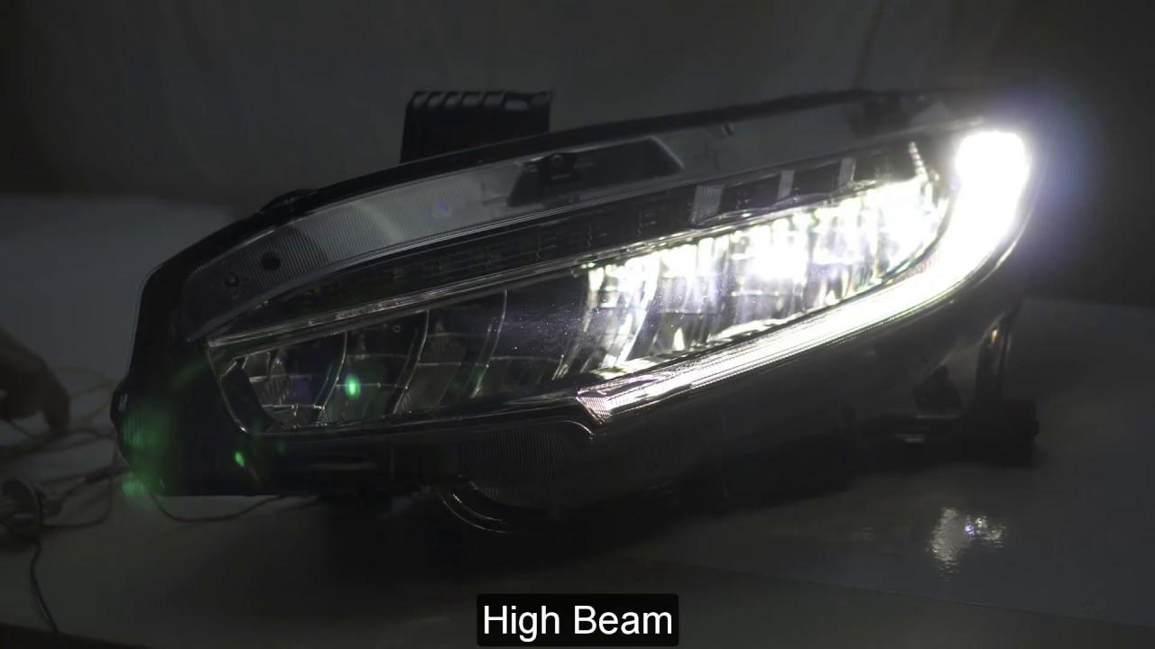 2016 2018 Honda Civic Full Led Headlight Sample Testing