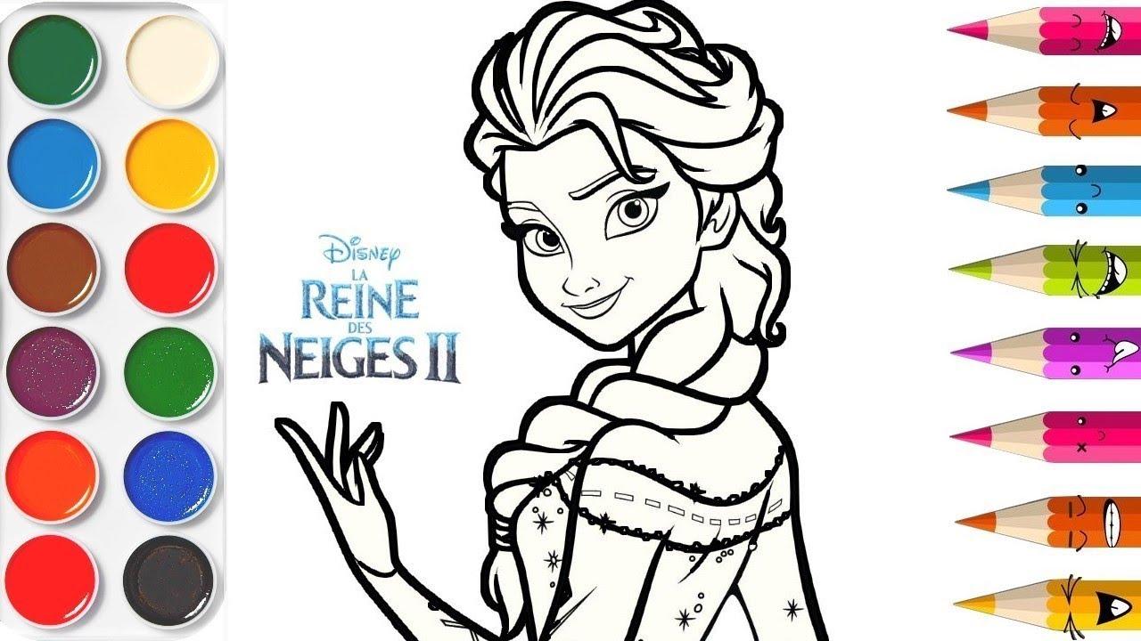 Nouveau Reine Des Neiges Elsa Frozen 2 Ii Apprendre Les Couleurs Video Educative Coloriage Youtube