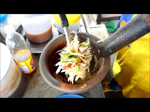 Fresh Papaya Salad Som Tam - Street Food from Bangkok - Thailand