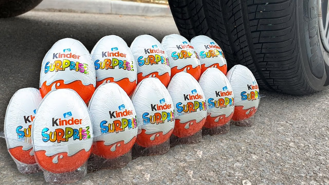 Experiment Car vs Surprise Eggs Kinder Joy | Top 25 Crushing Crunchy & Soft Things by Car | Test Ex