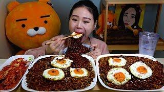 진짜장8봉과 달걀프라니 먹방 Mukbang