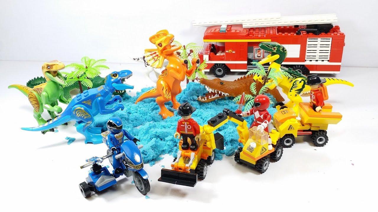 5 anh em siêu nhân tí hon xây khu vườn khủng long – Đồ chơi trẻ em