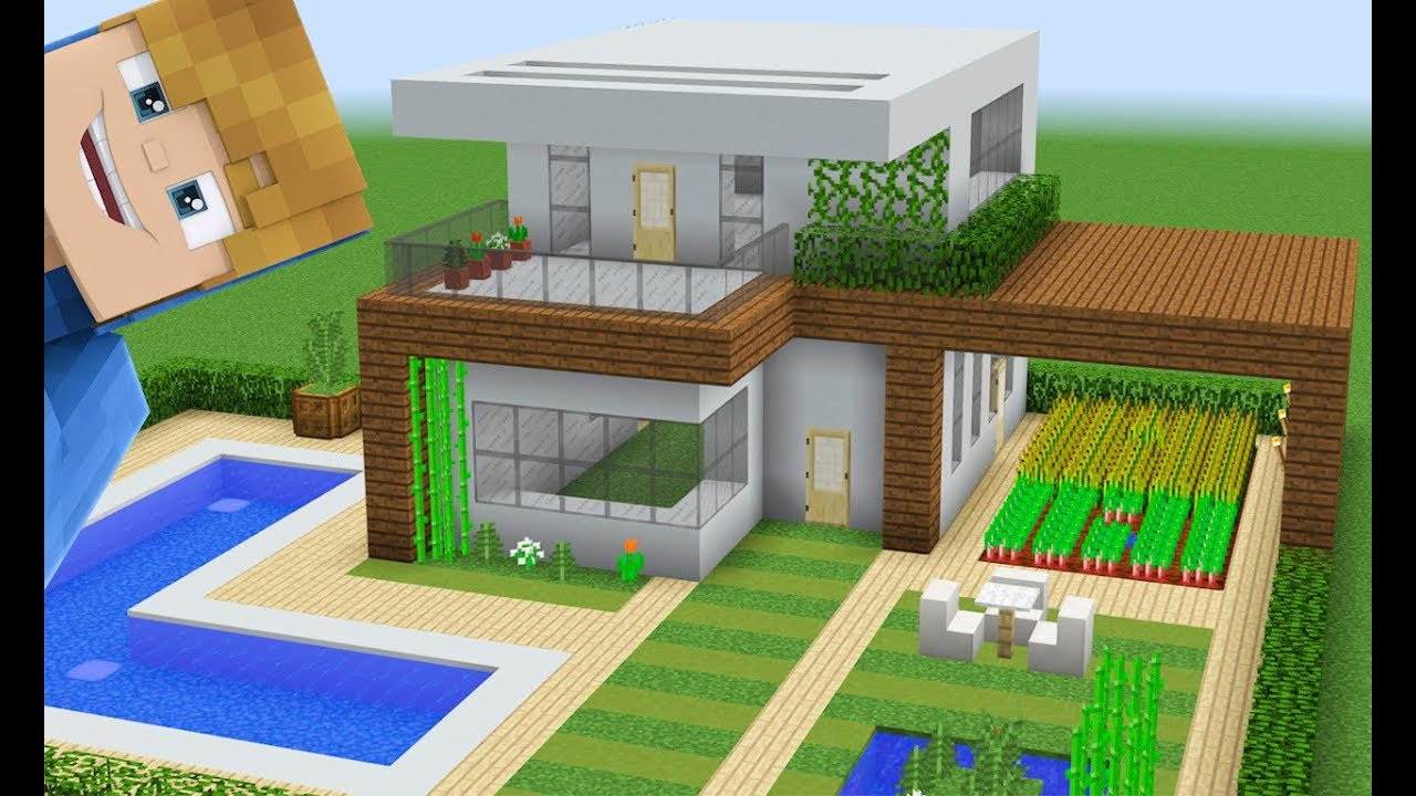 Minecraft construindo uma casa moderna grande com piscina for Casa moderna 8