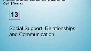 HSC3172C - Chap 13 - Social Support, Relationships, and Communication