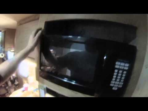 Mounting microwave in a cabinet