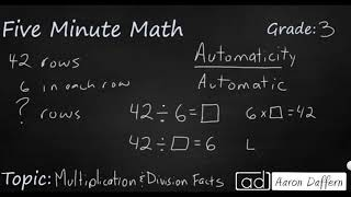 3rd Grade Math Multiplication and Division Facts