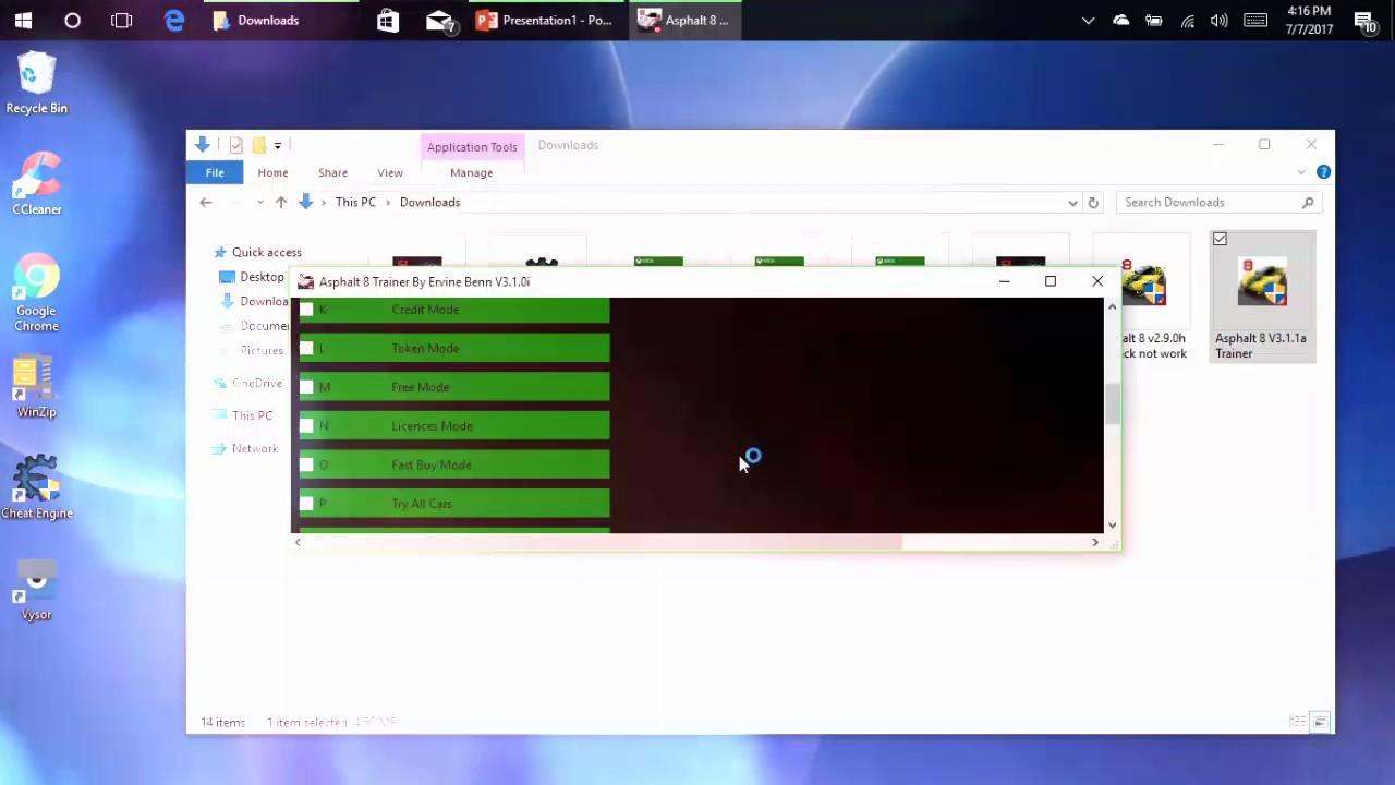 Trainer for hacking Asphalt 8v 3.1.1 Windows 10 - YouTube