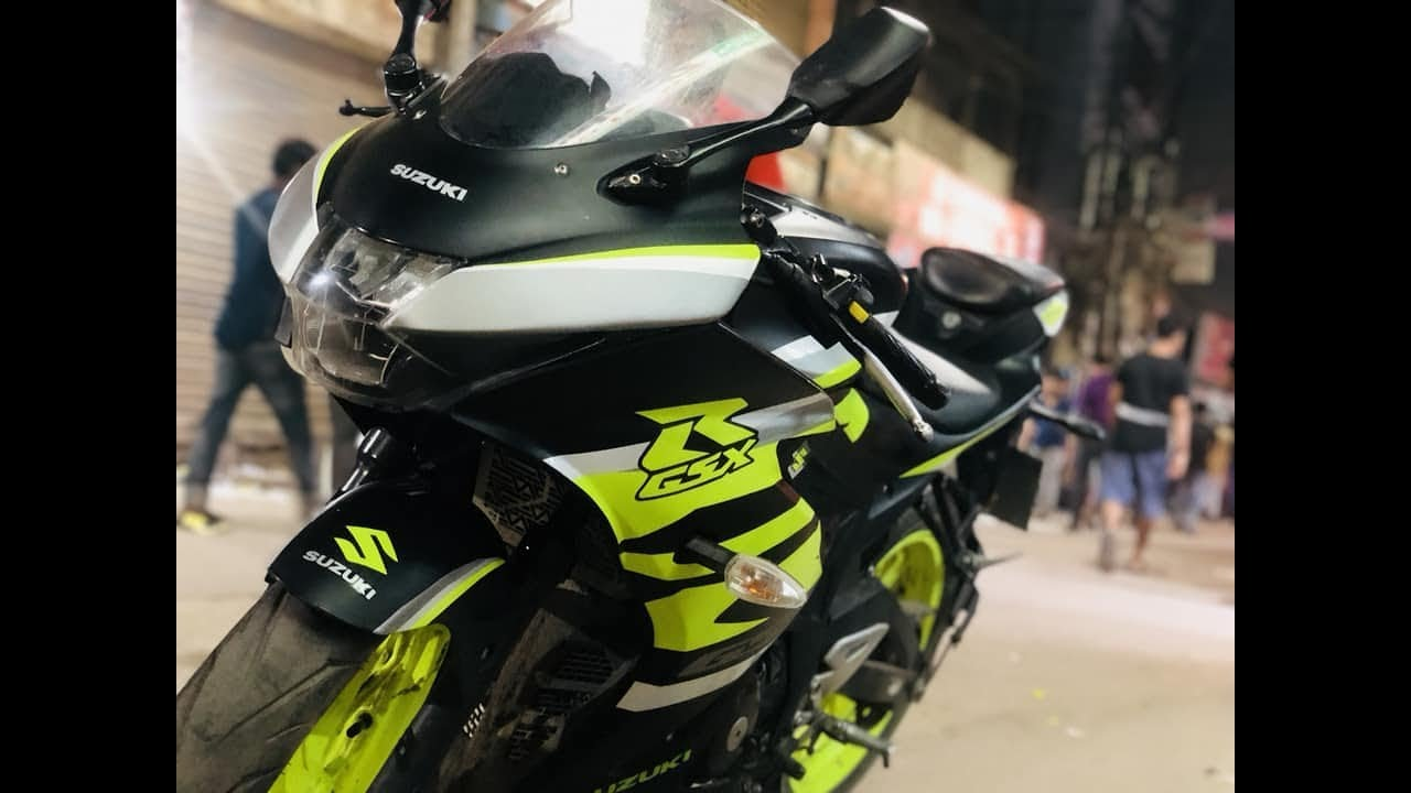 Asfsk Khan Vidmoon Suzuki Gixxer Sf Black Modified Gsx R150 With Sticker Graphi