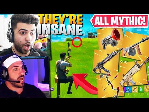 WE GOT ALL 5 MYTHIC WEAPONS AT ONCE! (SUPER BROKEN!) - Fortnite Battle Royale