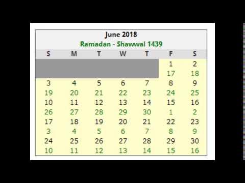 ISLAMIC CALENDAR DATES 2018 JUNE