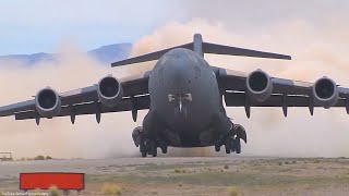 US Military C-17 and C-130 Military Transport Aircraft pilots conducting Take off and Landings