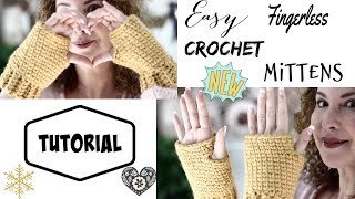 Easy Fingerless Crochet mittens